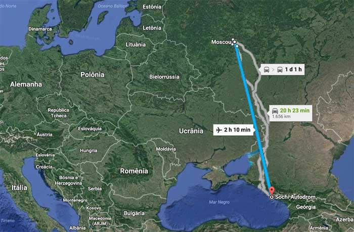 Moscou - Sochi são 2h10min de voo